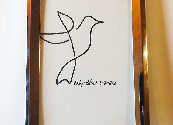 Original Framed Hummingbird Illustration
