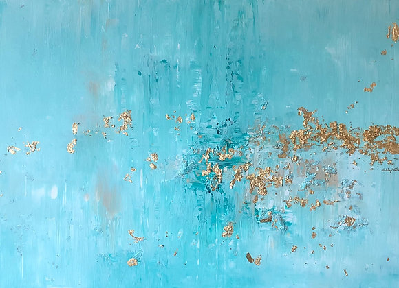 "Original Abstract Gold Leaf Ocean Painting (24""x36"")"