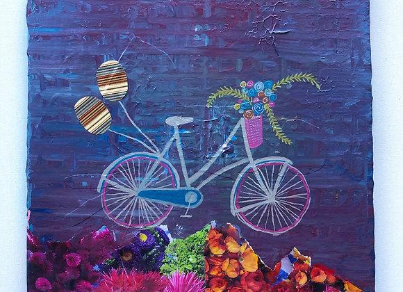 "12""x12"" Bike Collage on Canvas"