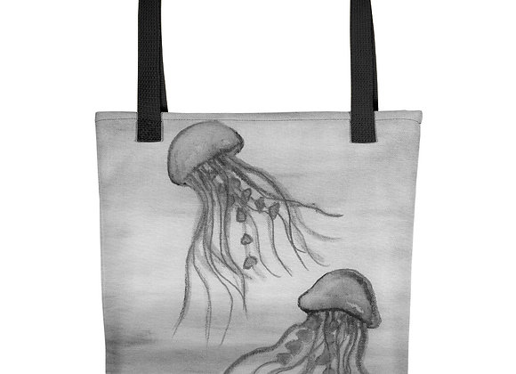 Black and White Jellyfish Tote bag
