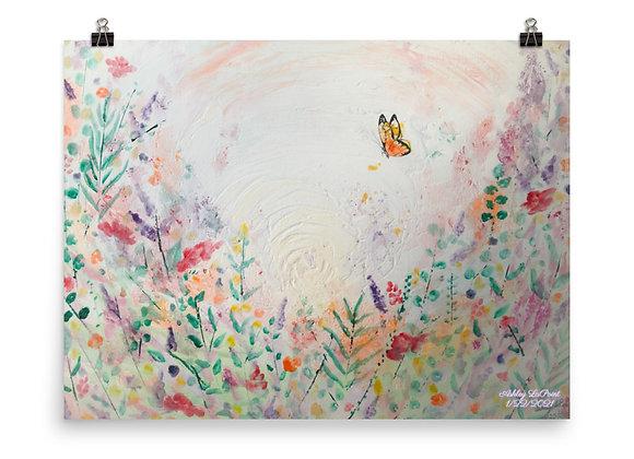 Butterfly in a Field Poster