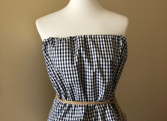 Strapless Gingham Shirt with Rope Belt