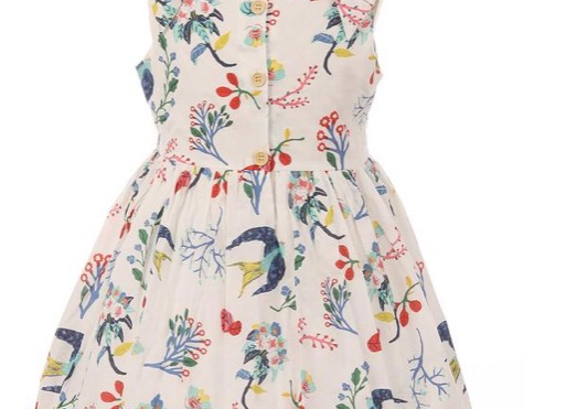 Cotton Bird Floral Dress, Size 4T and 6T