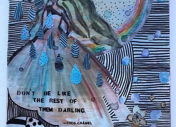 """Rainbow Pattern Chanel Quote Collage Painting 12""""x16"""""""