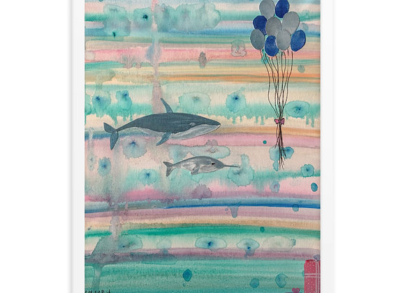 Whale and Narwhal Framed Poster Print