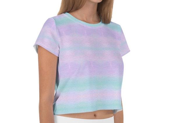All-Over Pastel Tie Dye Print Crop Tee