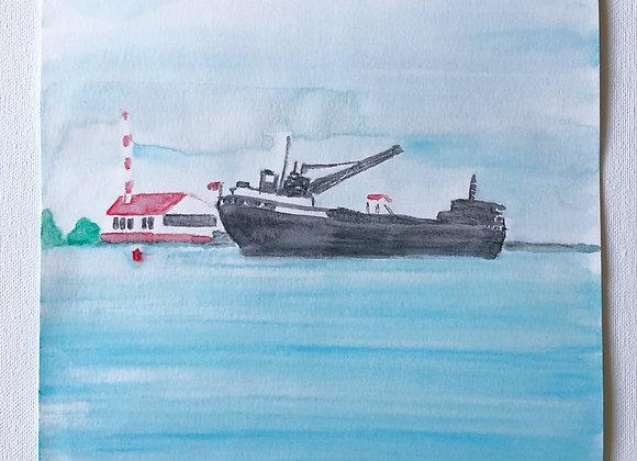 """Original 9""""x12"""" Freighter Art"""