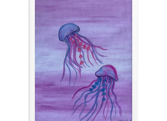 Colorful Jellyfish Framed Poster Print