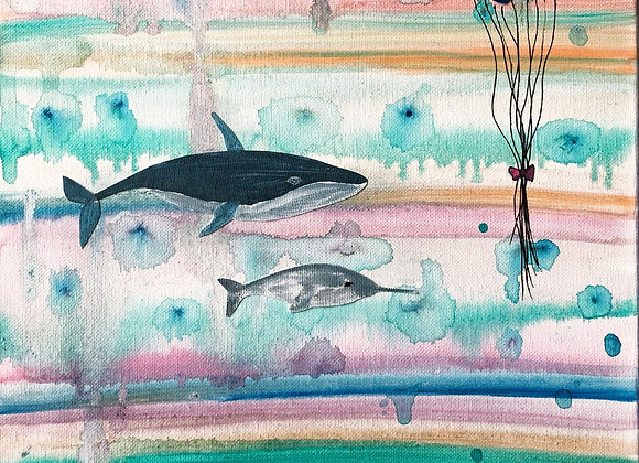 """A Whale and Narwhal Party 12""""x16"""""""