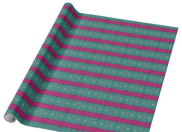 "30""x6' Chicago Skyline Wrapping Paper (Teal and Pink)"