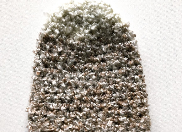 Crochet Hat in Brown and White