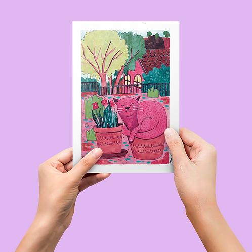 Coleção Memes e Fofuras da Internet: Print Gato Planta