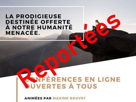 Conférences de Maxime Bouvet : reportées