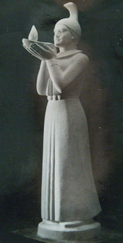 Stúlka með ljós 1959. Styttur steyptar í marmarasement og kvars eða jaspís settar upp í Mosfellsbæ og á Blönduósi.   A woman with a light. Statues in the towns of Mosfellsbær and Blönduós.