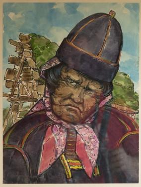 Völvan Labba hjá Inari, Finnlandi - The female shaman Labba, Inari in Finland 1952.