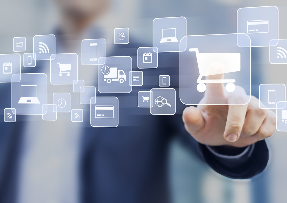 E-commerce concept with a person touchin