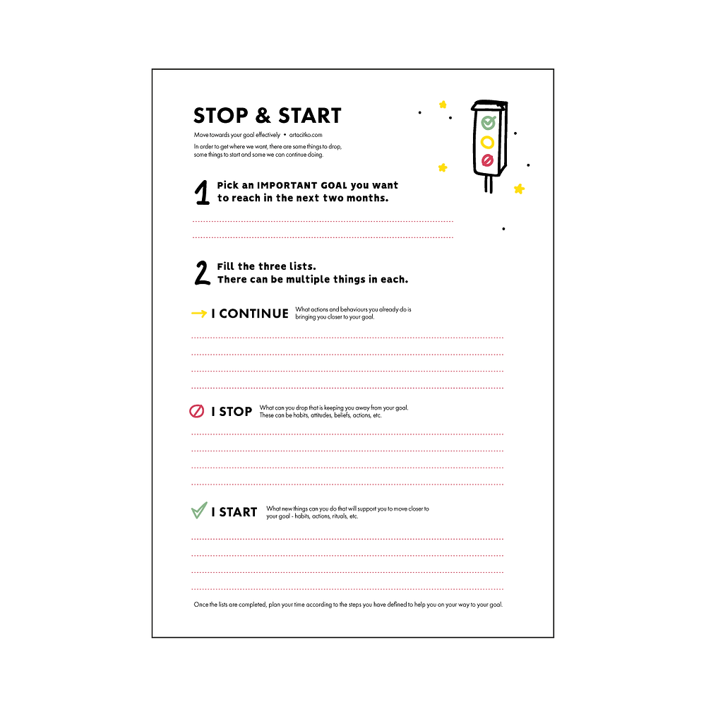 stop start continue list template with instructions