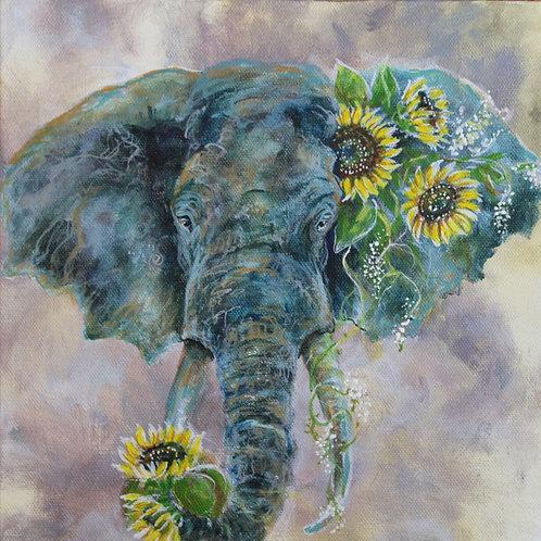 Elephant with Sunflowers