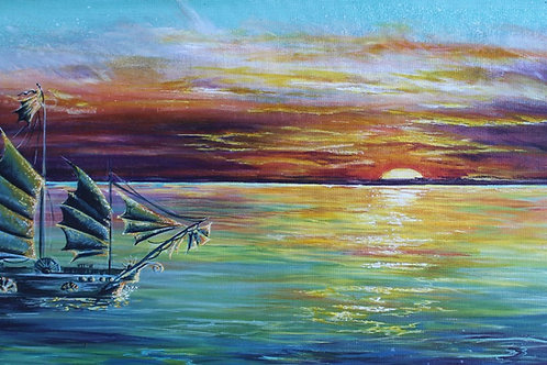 Sunset Wooden Print