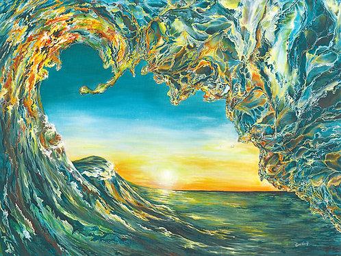 """Crystalline Sunset"" Wooden Print"