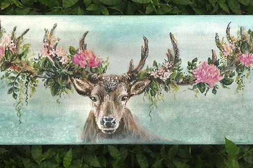deer with floral antlers