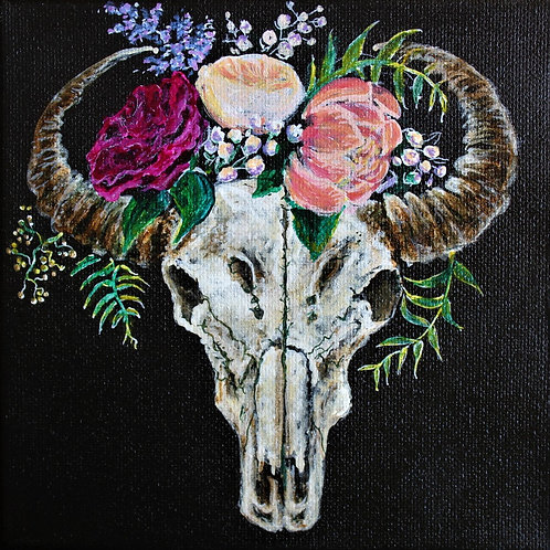 skull and flowers Wooden Print