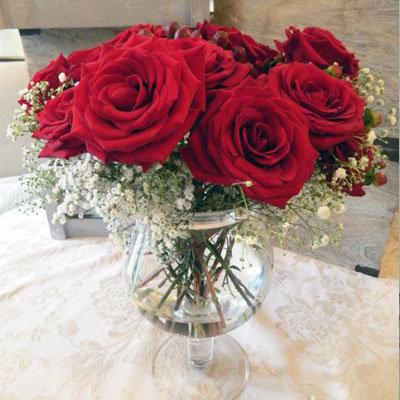 Limited Ed. Luxury Roses in Silver Rim Vase
