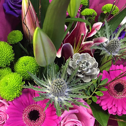 Cerise Sparkle Hand Tied Bouquet