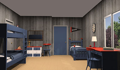 3D renderings of Brady Bunch Boys' bedroom