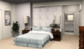 3D rendering of Mike and Carol Brady's bedroom