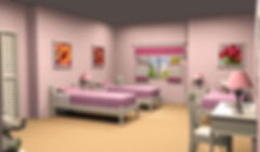 3D rendering of the Brady Bunch Girls' bedroom, 4th wall added