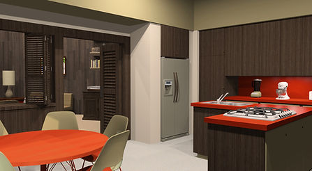 3D rendering of Brady Bunch kitchen