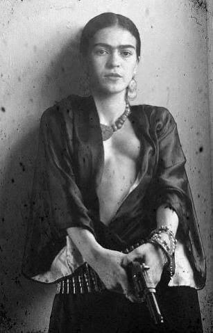Frida Kahlo with a gun