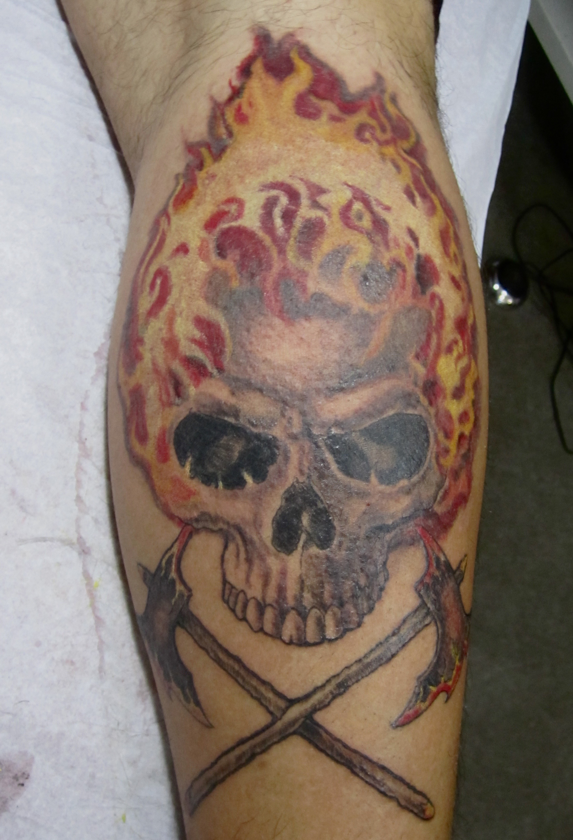 Fire Skull tattoo, Karina Mayorga