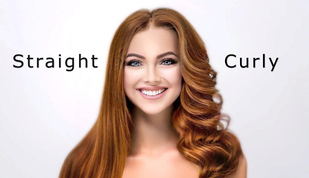 Picture of woman with straight and curly red hair and a smile - hair ventilation for wigs and hair systems - wigmakingblog