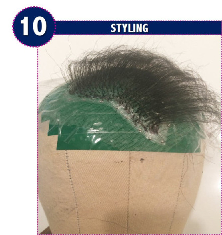 Styling the hairpiece or toupee