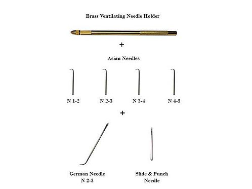 Hair Ventilating Needle Combo Set - 7 pcs - German, Asian, Slide and Punch, Brass Needle Holder Set