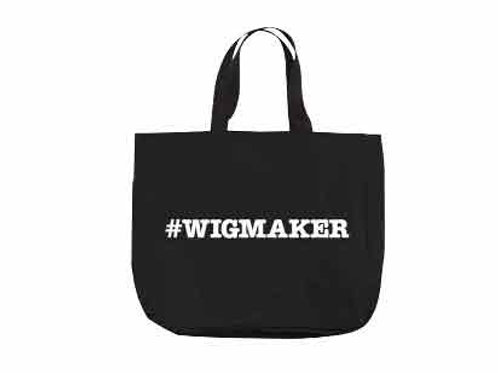 Black wigmaker poly canvas tote apparel bag by Amid Beauty