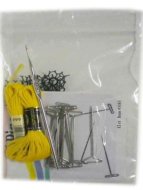 Hair Ventilation Practice Tools, T-pins, yarn, net, steel crochet hook
