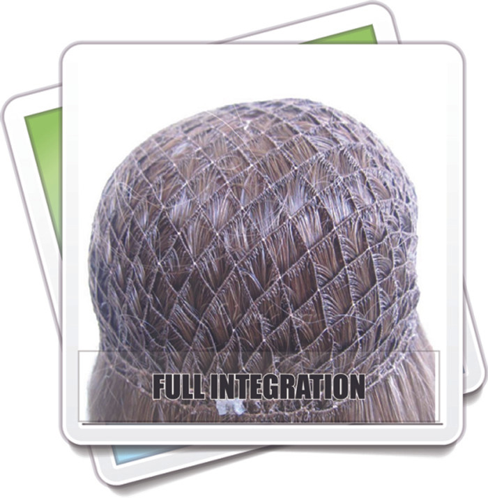 Full Hair Integration system, thinning hair, fuller hair, hair loss, wigmaker, wig making, supplies, net, honey comb, fish net, pull through, hair loss, women, service, repair, topper