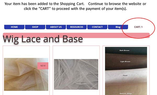 View a list of wigmaking lace and tools then click the link when ready to submit payment.