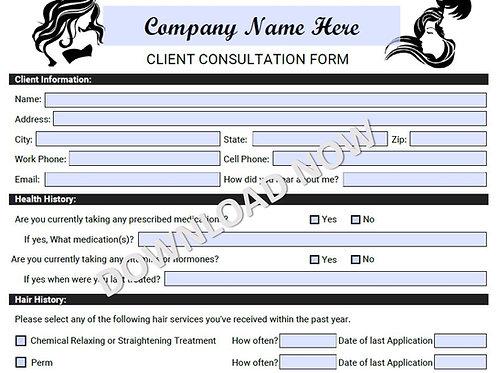 Editable Client Consultation Form