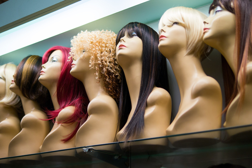 Display of wigs