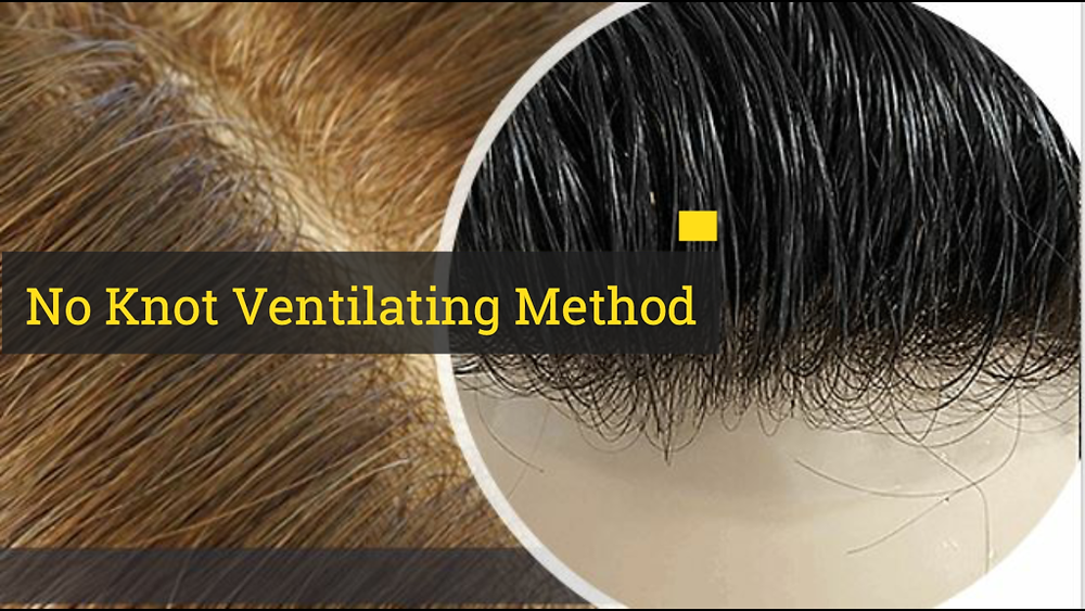 V-looping hair ventilation method added to thin skin wig and toupee.