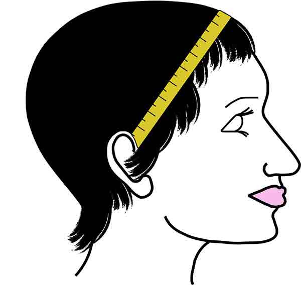 Wig Head Measurement - Ear to Ear (Across the Hairline)