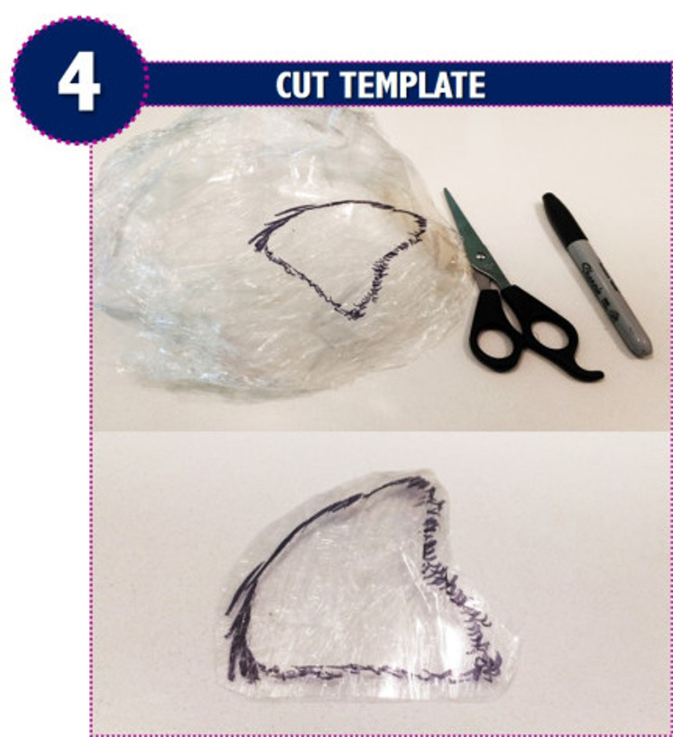 cut template, remove, trim, pattern, custom head template, wig creation, diy, hack, method, best, toupee, hairpiece, cling wrap, black marker