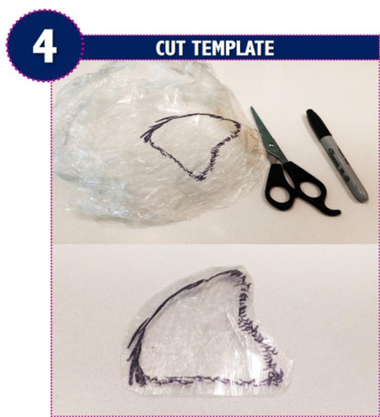 cut template, remove, trim, pattern, custom head template, wig creation, diy, hack, method, best, toupee, hairpiece, cling wrap, black marker