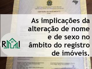 As implicações da alteração de nome e de sexo no âmbito do registro de imóveis