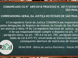 Comunicado 689/2018 - CGJ/SP: Meta 19 do CNJ