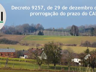 Decreto 9257, de 29 de dezembro de 2017: prorrogação do prazo do CAR